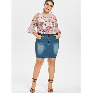 Plus Size Print Open Shoulder Blouse -