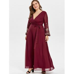 Plunge Embroidery Plus Size Maxi Dress -