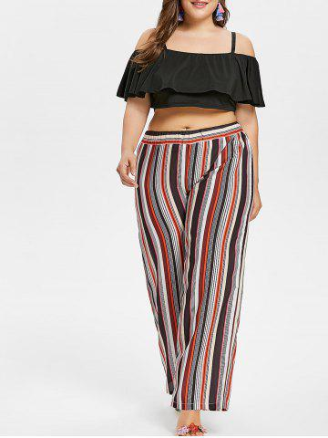 Fashion Plus Size Ruffle Crop Top and Striped Pants