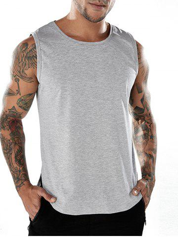 Chic Crew Neck Split Hem Tank Top