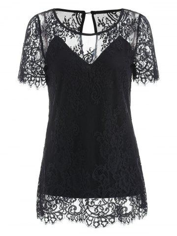 Chic Short Sleeve Lace T-shirt