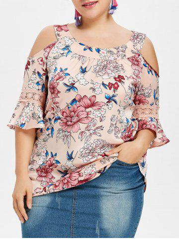 Trendy Plus Size Print Open Shoulder Blouse