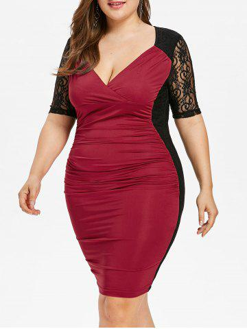 Hot Ruched Lace Insert Plus Size Evening Dress