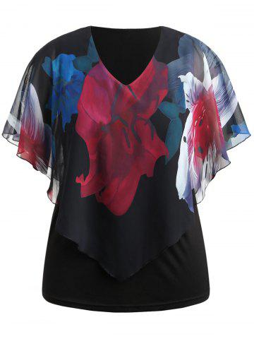 Trendy Big Flower Print Plus Size Overlay Blouse