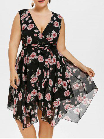 Online Plunging Neck Plus Size Floral Dress with Belt