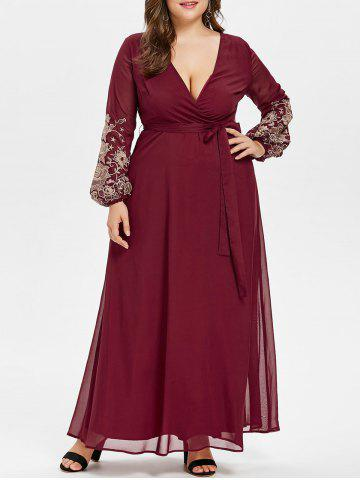 New Plunge Embroidery Plus Size Maxi Dress