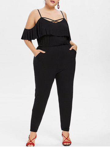 Sale Plus Size Flounce Cold Shoulder Jumpsuit