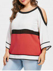 Plus Size Cutout Color Block Blouse -