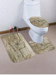 Retro Flower Wood Print Toilet Mat Set 3Pcs -