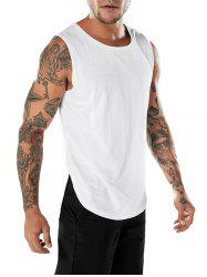 Crew Neck Split Hem Tank Top -