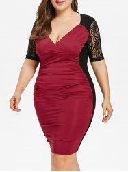 Ruched Lace Insert Plus Size Evening Dress -