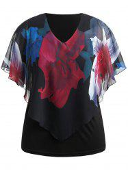 Big Flower Print Plus Size Overlay Blouse -
