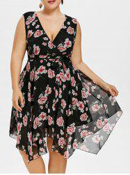 Plunging Neck Plus Size Floral Dress with Belt -
