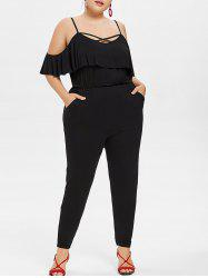 Plus Size Flounce Cold Shoulder Jumpsuit -