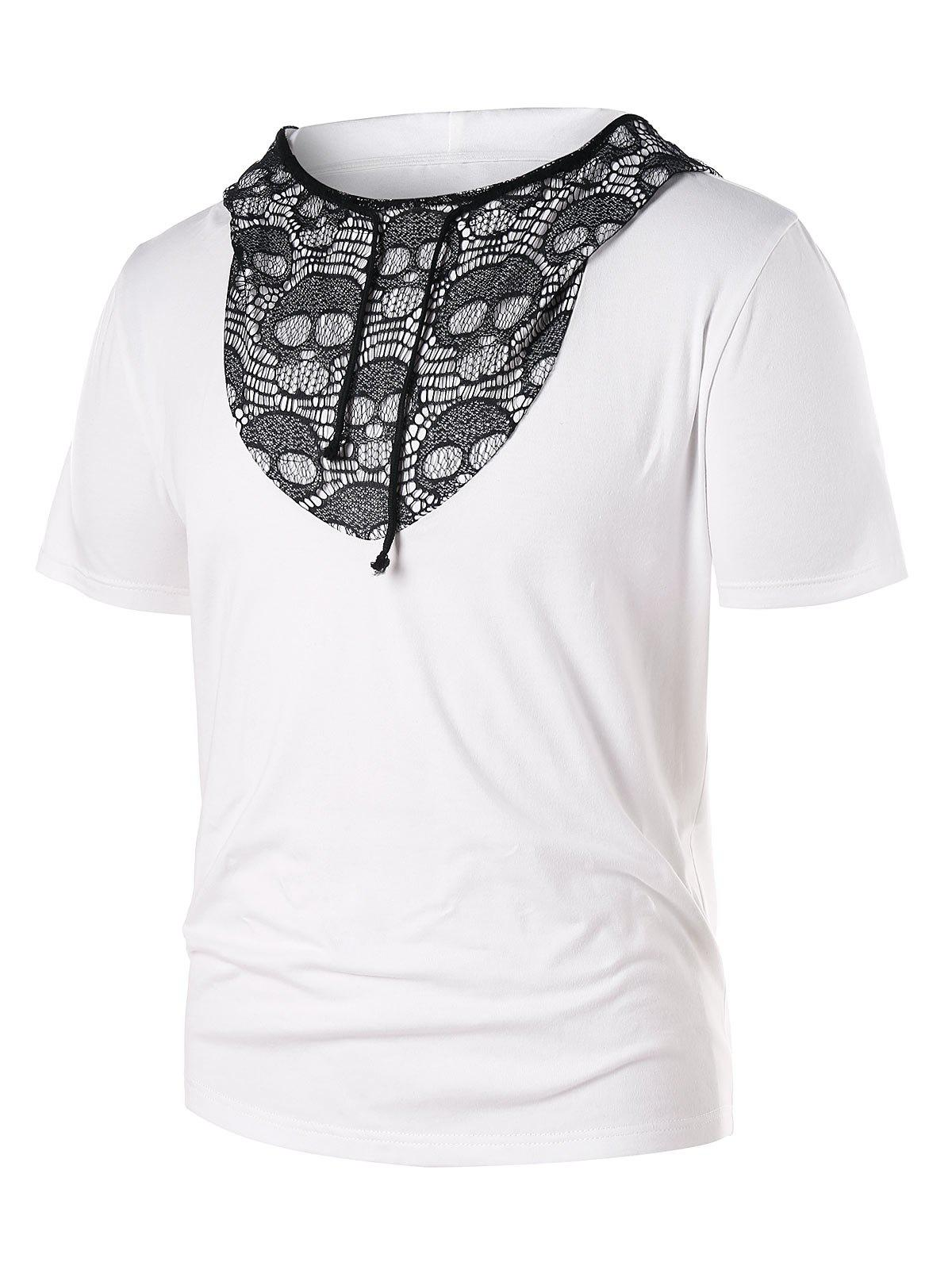 Store Hooded Skull Lace Panel Tee