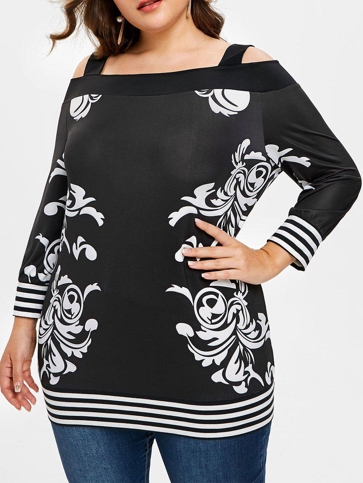Fancy Plus Size Bandana Floral Open Shoulder T-shirt