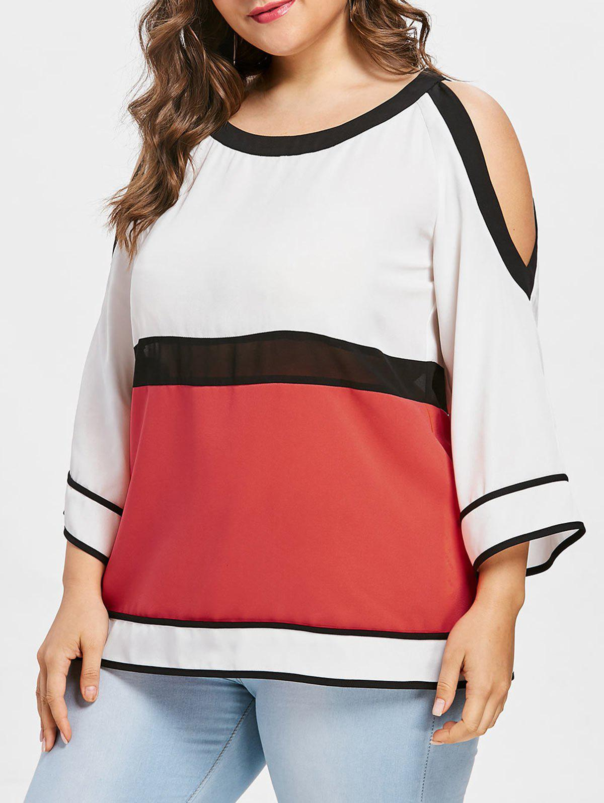 Chic Plus Size Cutout Color Block Blouse