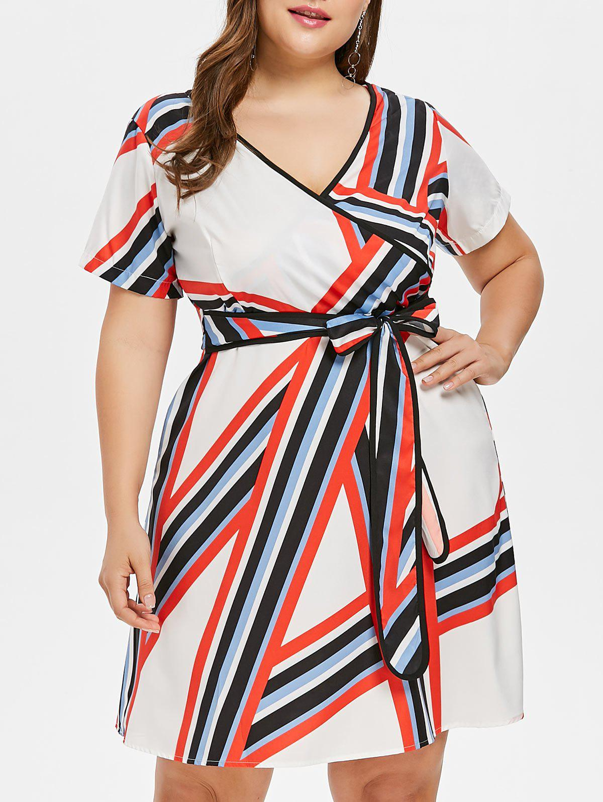 Shop Plus Size Striped Surplice Dress