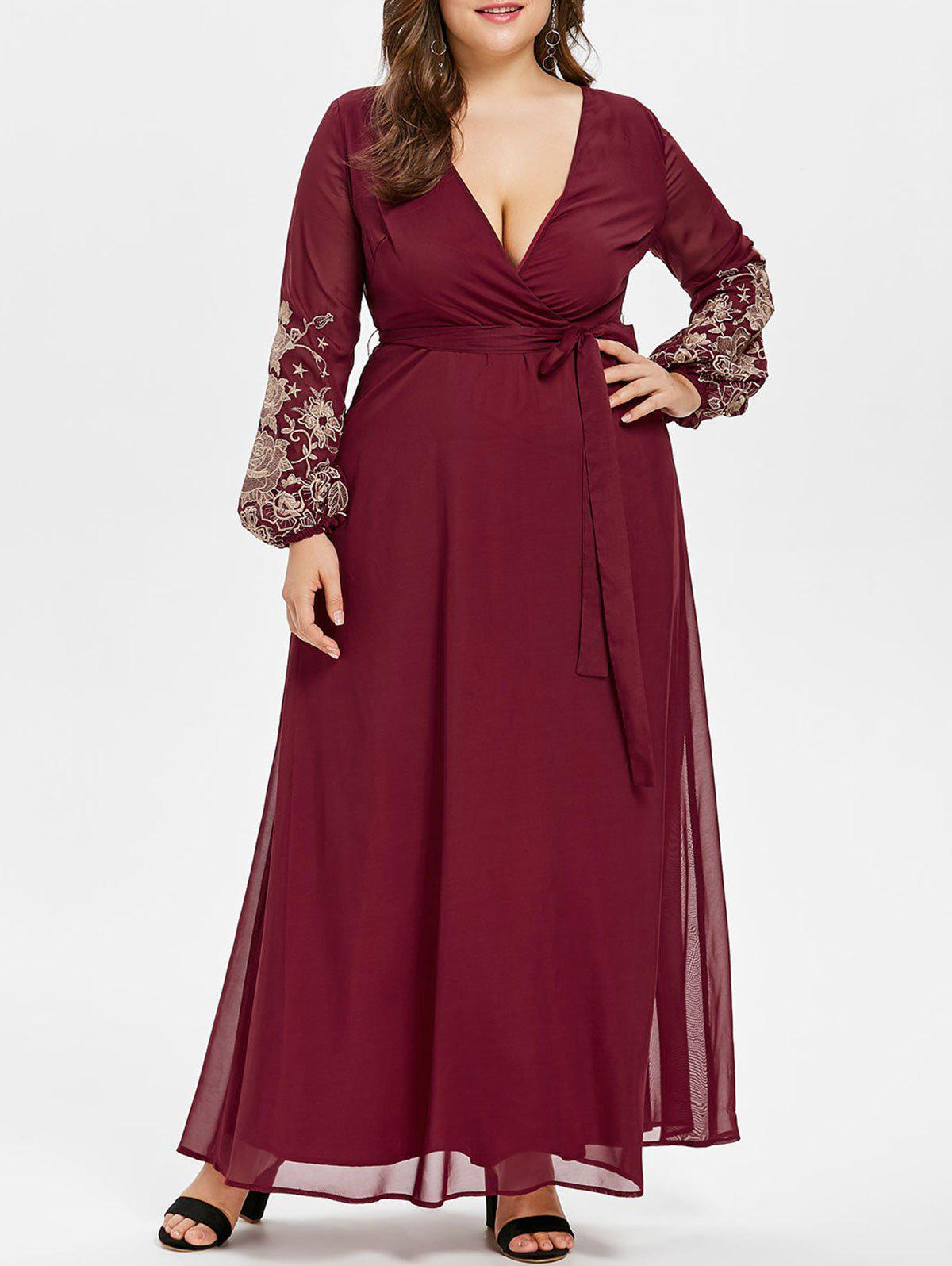 Shops Plunge Embroidery Plus Size Maxi Dress
