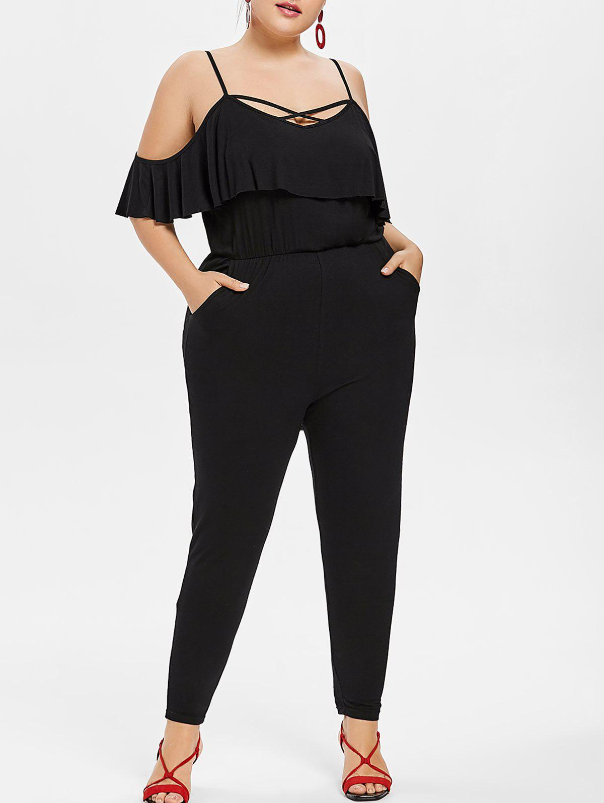 Trendy Plus Size Flounce Cold Shoulder Jumpsuit
