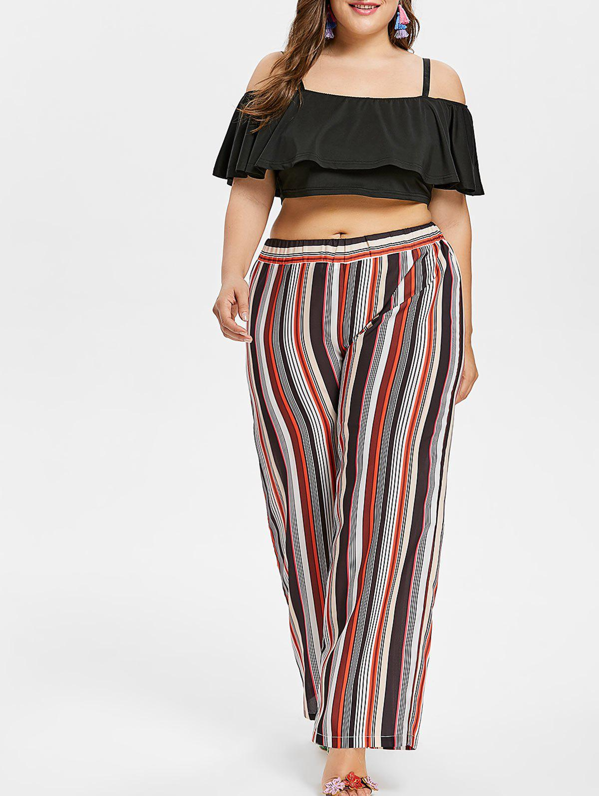 Cheap Plus Size Ruffle Crop Top and Striped Pants