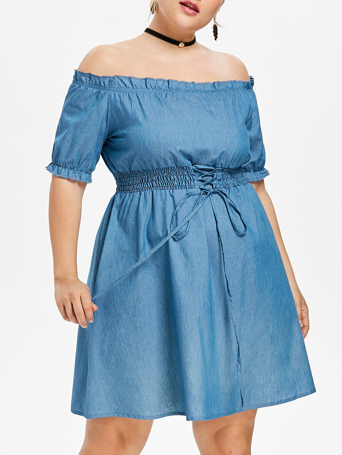 Store Plus Size Off Shoulder Smocked Chambray Dress