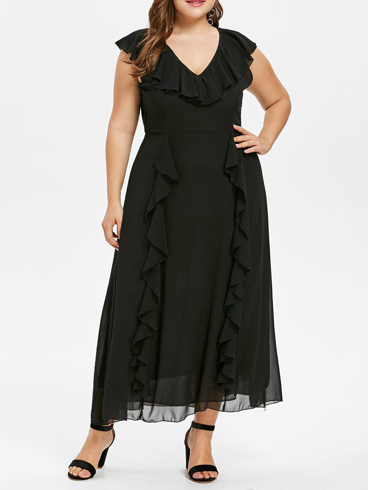 Chic Plus Size Ruffle Maxi Dress