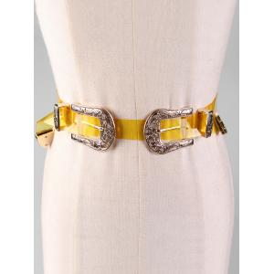 Stylish Jelly Color Double Head Buckle Waist Belt -