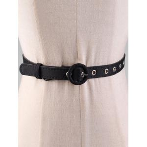 Simple Round Buckle Faux Leather Waist Belt -