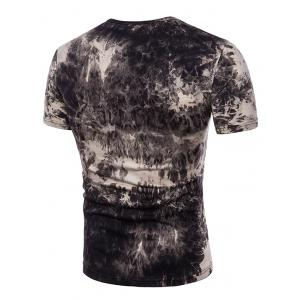 Drawstring Notch Neck Tie Dyed Tee Shirt -