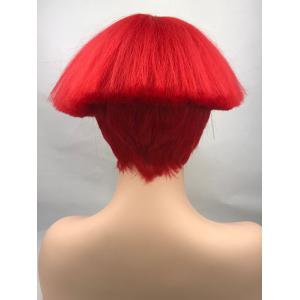 Perruque Synthétique Courte Lisse avec Frange Style Cosplay -