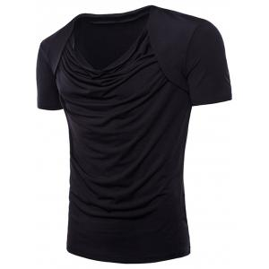 False Two-piece Pleated Cowl Neck T-shirt -