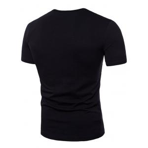 Short Sleeve Button Decorated Notched Neck T-shirt -
