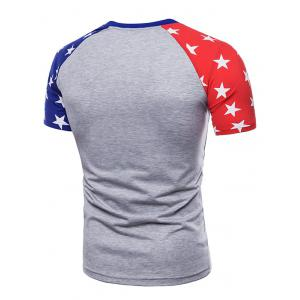 Crew Neck Two-tone Star Print Sleeves T-shirt -
