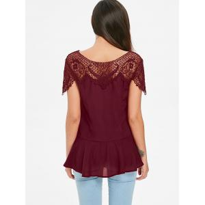 Lace Insert Tunic Peplum Top -