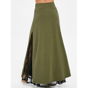 High Waisted Lace Insert Long Skirt -