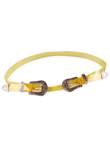 Chic Stylish Jelly Color Double Head Buckle Waist Belt