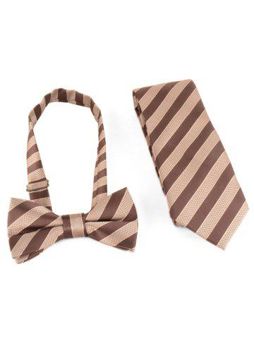 Shop Striped Pattern Silky Shirt Tie and Bowtie