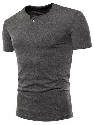 Affordable Short Sleeve Button Decorated Notched Neck T-shirt