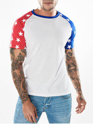 Shops Crew Neck Two-tone Star Print Sleeves T-shirt