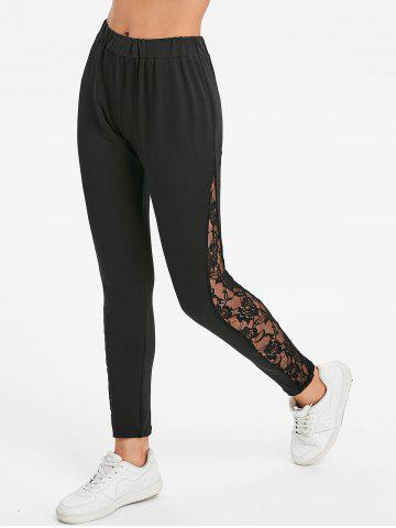Cheap Lace Panel Bottom Fitted Leggings