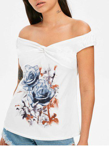 Chic Off The Shoulder Twist Front Printed T-shirt