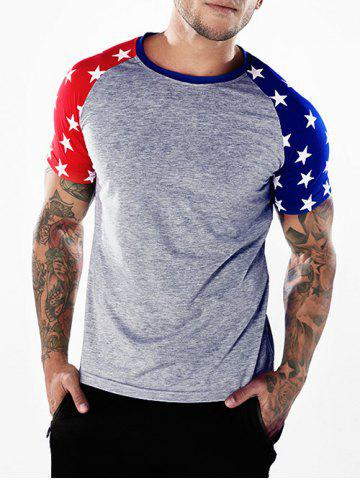 Discount Crew Neck Two-tone Star Print Sleeves T-shirt