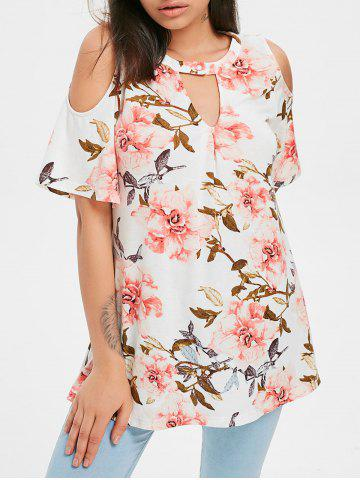 New Keyhole Open Shoulder Printed Tunic Blouse