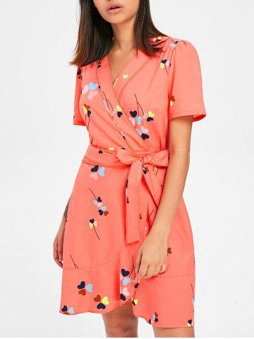 New Heart Print Tulip Wrap Dress