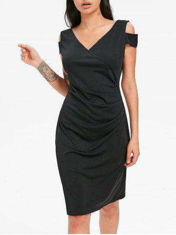 Cheap V Neck Draped Dress