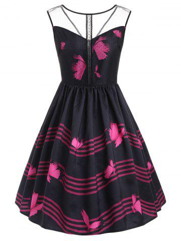 Outfits Butterfly Wave Stripe Print Sleeveless Vintage Dress