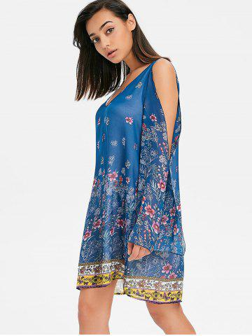 V Neck Split Sleeve Floral Chiffon Dress
