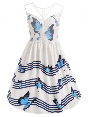 Online Butterfly Wave Stripe Print Sleeveless Vintage Dress