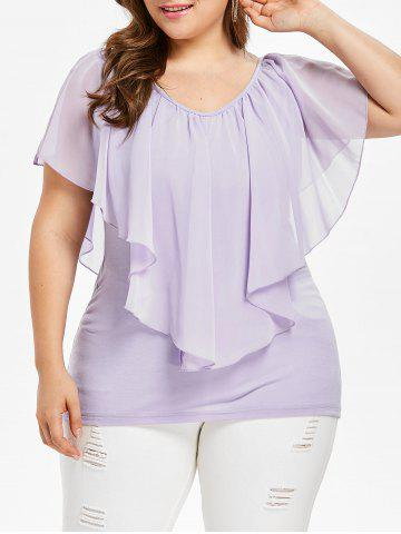 Discount Plus Size Chiffon Overlay Top